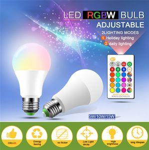 E27 LED 16 Color Changing RGB rgbw Light Bulb Lamp 3w 5w 10w 15w 85-265V RGBw Led Light Spotlight + IR Remote Control