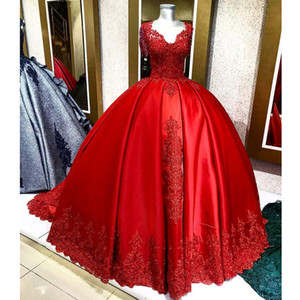 Luxurious Arabic Aso Ebi Red Lace Beaded Wedding Dresses V-neck Ball Gown Bridal Dresses Vintage Sexy Wedding Gowns