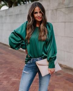 Kadın Bluz Gömlek Yeşil Saten Kadınlar Ve Tops Fener Uzun Kollu Vintage Bluz Sonbahar Kış Zarif Ofis Artı Boyutu