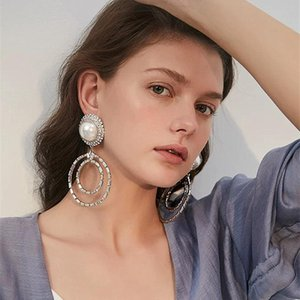 Women Fashion Boutique Crystal Big Drop Dangle Earings Jewelry Hot Sale Brand Show Statement Earrings Accessories