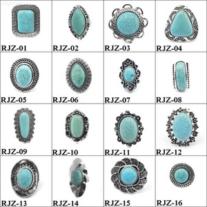 FactoryMFAS112 Turquoise Rings High styles vintage quality turquoise Natural Stone Rings Fashion Costume Gemstone Female