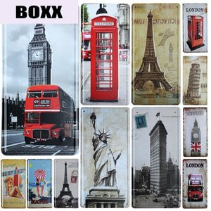 Famous Building License Plate Store Bar Wall Decoration Tin Sign Vintage Metal Sign Home Decor Painting Plaques Poster