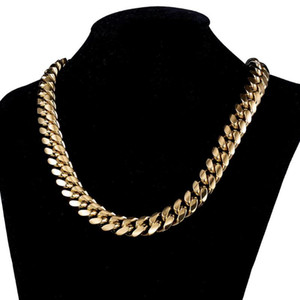 Custom Men Gold Tone 316L Stasinless Steel Jewelry Curb Cuban Link Chain Necklace for Men 14mm 7-40inch