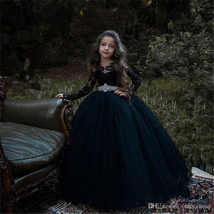 Gothic Long Sleeves Black Applique Jewel Crystal Sash Big Bow Cute Kids Formal Wear Floor Length Ball Gown Flower Girl Dresses