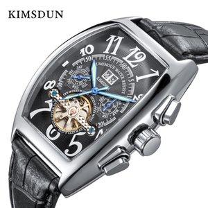 Kimsdun brand luminoso hombre de negocios en forma de barril de barril turbillon reloj mecánico automático
