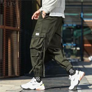 Fitas Casual multi Pockets calças da carga para homens Calças Masculino cordão Moda Corredores Hip Hop Streetwear Calças Lápis