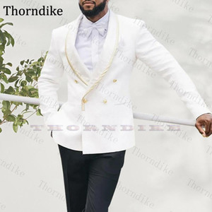 Thorndike Custom Made Autumn Shawl Lapel White Wedding Dress Suits For Men Elegangt Double Breasted Party Groomsmen Tuxedos