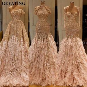 Glitter Gold Sequin Mermaid Feather African Prom Dresses Long Sleeve One Shoulder Evening Gown Plus Size Graduation Formal Dress T200604