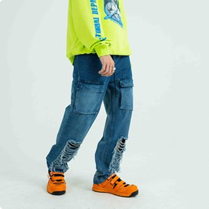 Hiphop Fashion Mens Loose Destroy Distressed Ripped Jeans Embroidery Cargo Denim Pants