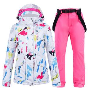 Vestes et pantalons de ski de sport d'hiver pour femmes costumes de ski de snowboard Snowboarding Ensembles Femme chaude chaude étanche
