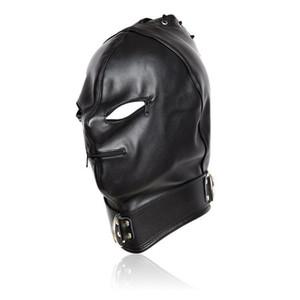 Piel Lusl Bdsm Juguetes Sex Bondage máscara de ojo de Leath Adulto Capucha Hood Pu Juguetes y Hood Productos para la boca Máscara Pareja cabeza abierta Esclavo Nueva Se Xfrl