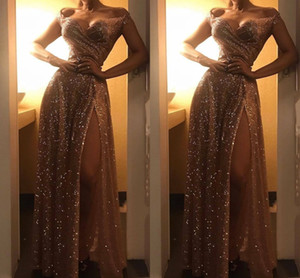 Amazing Rose Gold High Slit Prom Evening Dresses 2021 Off the shoulder with Cap Sleeves Ruched Bridesmaid Cheap Party Graduation Dress