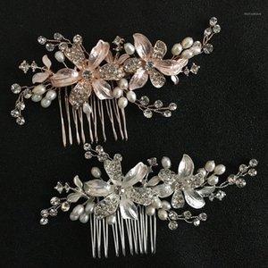 Slbridal Handmade strass cristal eau douce perles fleur mariage cheveux peigne hidal coiffe accessoires pour femmes bijoux1