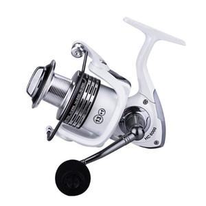 K8356 Spinning Bobina da pesca 13 + 1BB 1000-7000 Bobina metallica Peche Bianco Pesci Ruota intercambiabile Maniglia per la carpa Accessori per la pesca 201125