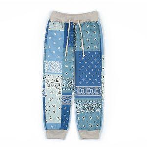 Autumn and Winter Fashion Mens Bandana Sweatpants Fleece Hiphop Pants Vinatge Taped Joggers