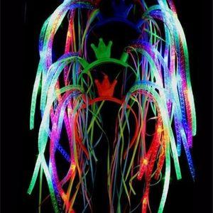 Flash LED Noodle Headband Party Rave Costume Fancy Dress Blinking Light Up Braids Crown Hairband Headbands Christmas Festive favors