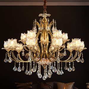 New design copper chandelier lights for hotel villa club decoration fancy  crystal chandeliers lamps American pendant lighting