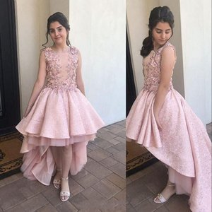 2021 New Blush Pink Flower Girls Dresses For Wedding High Low Birthday Party Jewel Neck Lace With Flowers Ball Gown First Communion Dress