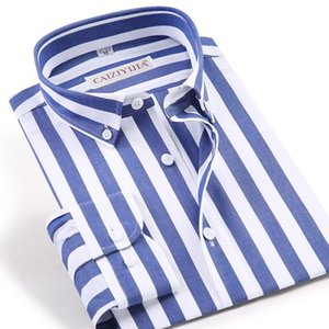 Men's Long Sleeve Standard-fit Blue white Striped Dress Shirt Wrinkle-Free Casual Button Down Cotton Easy-care Shirts