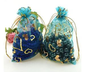القلب الأورجانزا هدية حقيبة لطيف الحلوى حزمة لحضور حفل زفاف لصالح الرباط الحقيبة مجوهرات مشرق حزب الزفاف الديكور 11 * 16 سنتيمتر GWE4352