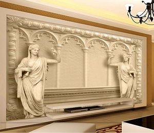 Customized Retail High-End Luxury Villa 3D European TV Background Wall Three-Dmensional Embossed European Arches Angel Murals