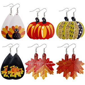 2020 New Christmas ornaments Festive Party gift Leather Earrings Pumpkin Maple Leaf Thanksgiving Day Leather Earrings Holiday Gift Jewelry