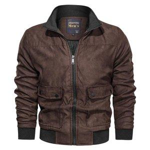 Negizber 2021 Nouveau automne Hiver Mens veste et manteaux Solide Stand Collier Col fer à fermeture à glissière Hommes Mode épais Manteaux en molleton Hommes