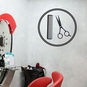 Barber Shop Wall Stickers Art Wall Decals Tool Scissors Comb Wall Vinyl Decors Pattern Self Adhesive Hair Salon Removable