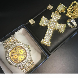 Men gold watch hip hop men necklace out cuban watch & necklace & ring earrings combo set for jewery set