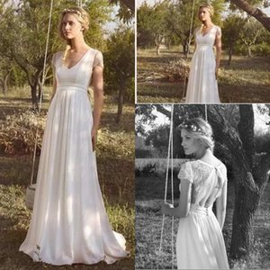 2020 Hot Selling Beach Chiffon Wedding Dresses V Neck Short Sleeve Lace Applique Bridal Gowns Pregnant Hollow Back Wedding Dress Cheap