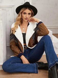 Autumn and winter trendy women fashion brown lamb fur collar stitching jacket ladies short coat outerwear