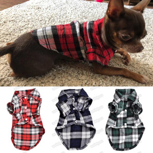 Classic Plaid Pet Dog Shirts For Dogs Clothes Summer Dog Vest Small Medium Pet Clothes For Dogs Pets Clothing Puppy Cat Clothing Free DHL