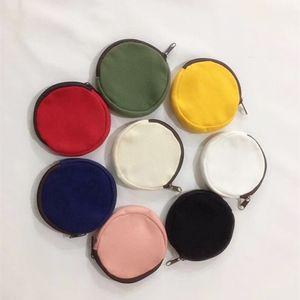 DIY Blank Round Canvas Zipper Pouches Cotton Kawaii Coin Purses Pencil Cases Pencil Bags 8 Colors DWB2422