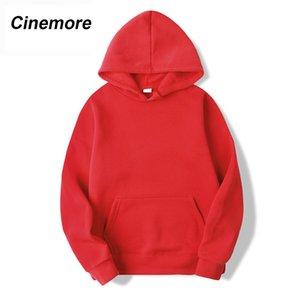 Cinemore Pullovers pink casual hoodies sweatshirt Women pocket autumn solid loose winter Female long sleeve hooded sweatshirt Y1116