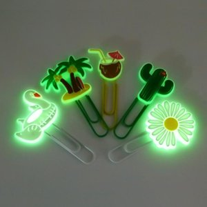 1 PCS Daisy Cactus Coconut Glowing PVC Bookmarks Luminous papel clipes de papelaria Escritório Office Página Titular Professor Presente