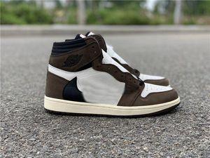 NUOVO Travis Scott X 1S alta OG TS SP 1 MENS Low scarpe da basket Sail scuro Mocha Università Outdoor scarpe da tennis