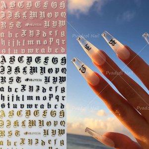 3D Gold Black White Nail Art Latin Roman English Alphabet Letter Self-adhesive Sticker Decals Manicure Decoration