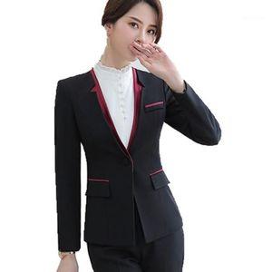 Womens Formal Suit Black V-neck Jacket and Trouser 2 Piece Set Pantsuit Women Business Casual Pants Suit Ladies Office Work1
