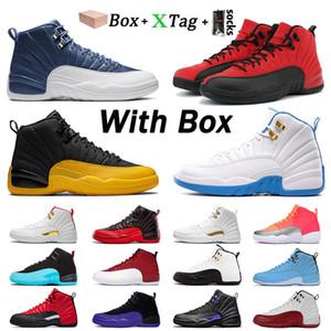 مع مربع الساخنة 12 jumpman 12 ثانية أحذية رجالي كرة السلة أحذية رياضية الأصل الحجر الأزرق الأسهم جامعة الذهب ovo x المدربين حجم 40-47