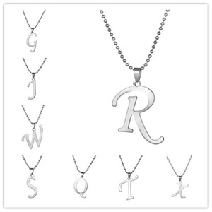 Skyrim Fashion Stainless Steel Capital Letter Pendant Necklace Jewelry r g j w s t q x Alphabet Ball Chain Necklaces for Men