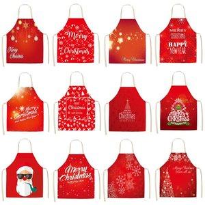 Decorazione natalizia Santa Red Cotton Cotone Grembiule Grembiule Grembiule Cucina Cucina Grembiuli Donne Casa Cooking Cooking Bib Bib Pinafore MX0005