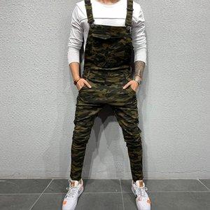 Mode-Männer Hosen Overalls verstellbare Schultergurte Taschen einfache Art-Strapse Denim Zerrissene Hosen Beliebte Overalls