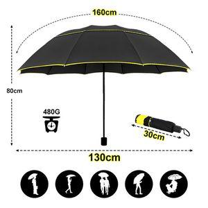 Winddicht große 130cm große doppelte doppelscheibe männer regen frau tragbare regenschirm männliche frauen sonne 3 floding geschäftsschirme 201111
