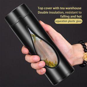 Вид деятельности двустенных Стеклянная бутылка воды 400мл мужчина вакуума FlaskTea Отделение Bubble Tea Mug высокого боросиликатного стекла Cup