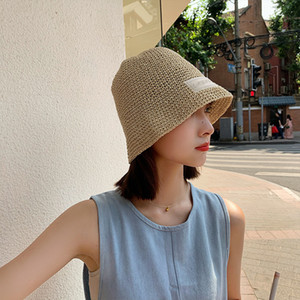 children's Korean fashion letters with straw small fresh summer sunshade and sunscreen woven fisherman's Hat wide eaves cover face