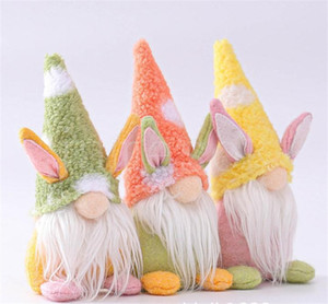 Easter Bunny Gnome Handmade Swedish Tomte Rabbit Plush Toys Doll Ornaments Holiday Home Party Decoration Kids Easter Gift db444