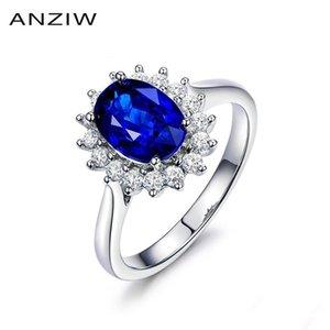 ANZIW 2 S Oval Cut Blue Sona Bridal Halo Ringe 925 Sterling Silber Ringe Frauen Hochzeit Jubiläumsgeschenke Schmuck