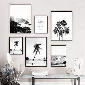 Скандинавский пейзаж холст плакат океан пляж пальмовые стены искусства положительные цитаты печати картина Nordic черный белый дом декор1