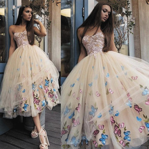 2021 Champagne Prom Dresses Tea Length Strapless Tulle Butterfly Lace Applique Embroidery Custom Evening Ball Gown Graduation Party Wear