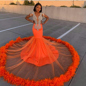 High Quality New Arrival Orange Mermaid Prom Dresses Lace Beads Crystal Feather Formal Evening Dress Deep V Neck African Robes De Soirée